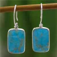 Handmade Sterling Silver 'Caribbean Mosaic' Turquoise Dangle Earrings (Mexico)