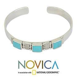 Handmade Sterling Silver Aztec Crown Oxidized Finish Turquoise Cuff Bracelet (Mexico) - Thumbnail 1