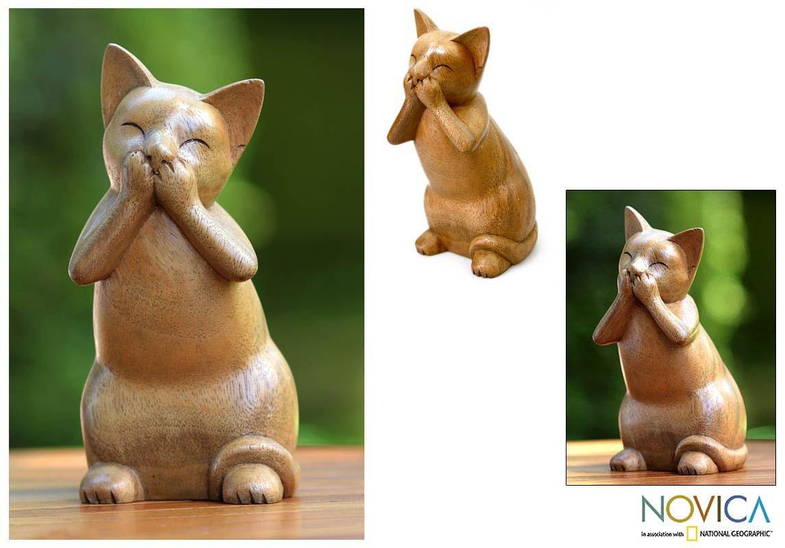 Handcrafted Suar Wood 'Speak No Evil Cat' Sculpture (Indonesia)