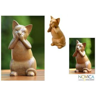 Handcrafted Suar Wood 'Speak No Evil Cat' Sculpture (Indonesia)