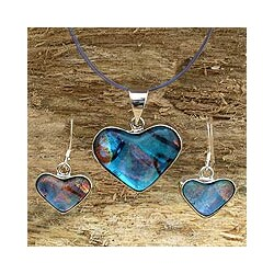 Handmade Sterling Silver 'Heart of Blue' Dichroic Glass Jewelry Set (Mexico)