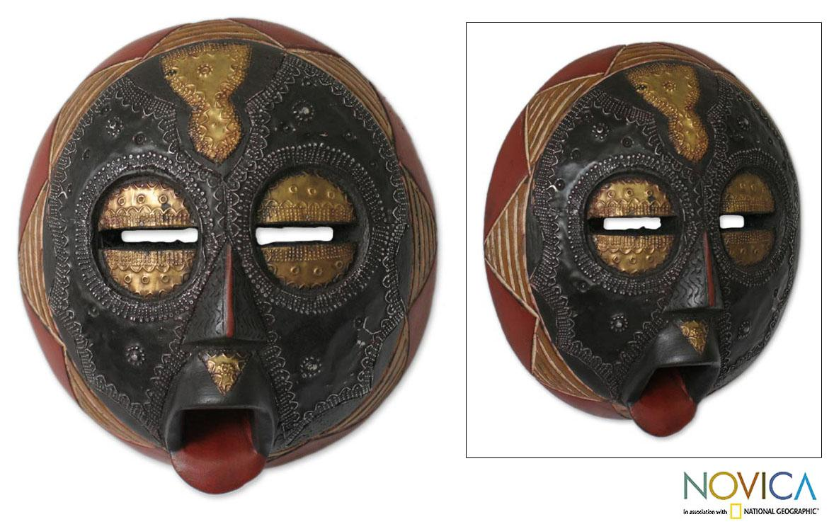 Handcrafted Sese Wood 'Caring Mother' African Mask (Ghana)