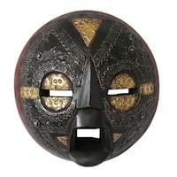 Handmade Sese Wood 'Beautiful Soul' African Mask, Handmade in Ghana - Black/Red