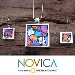 Handmade Sterling Silver 'Spring Abstract' Art Glass Jewelry Set (Mexico)