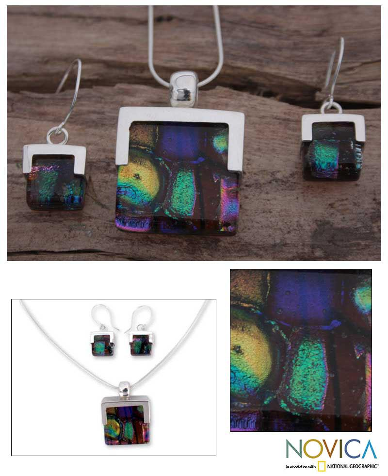 Handmade Sterling Silver 'Luminous' Art Glass Jewelry Set (Mexico)