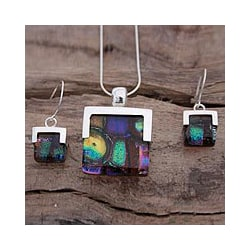 Handmade Sterling Silver 'Luminous' Art Glass Jewelry Set (Mexico)