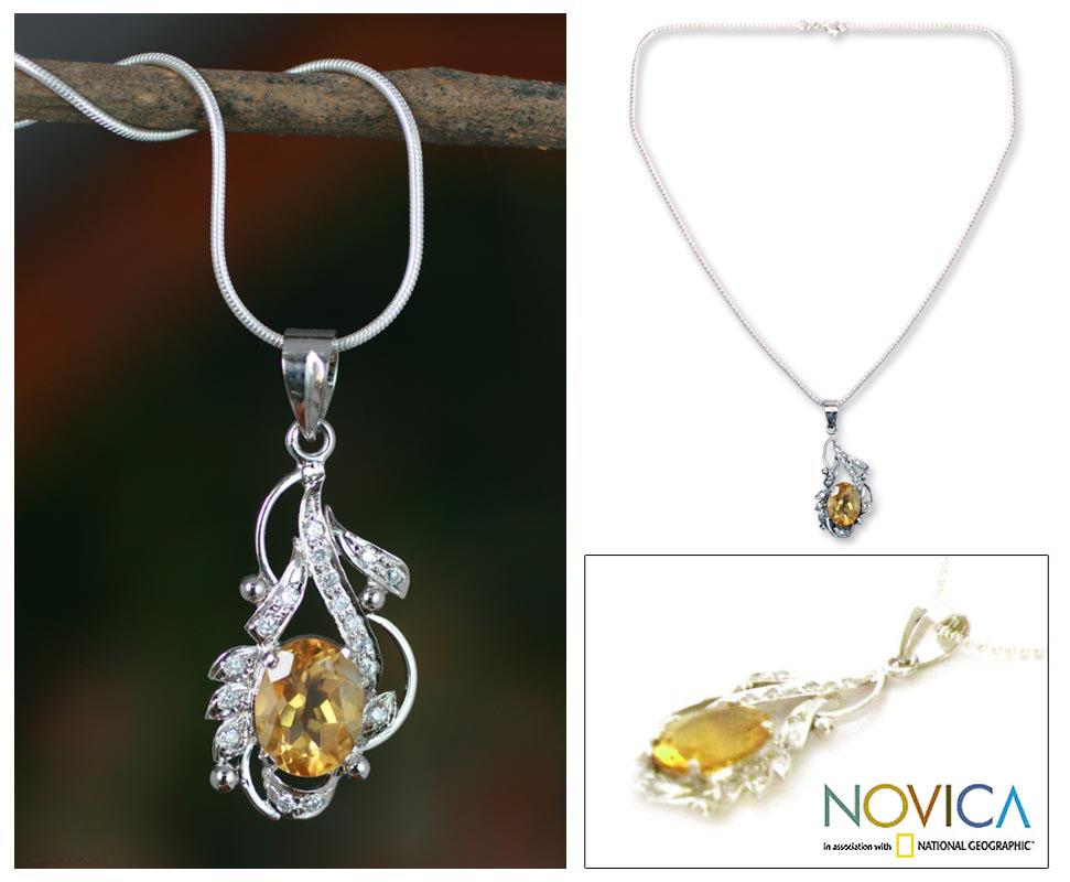 Handcrafted Sterling Silver 'Jaipur Sun' Citrine Necklace (India)