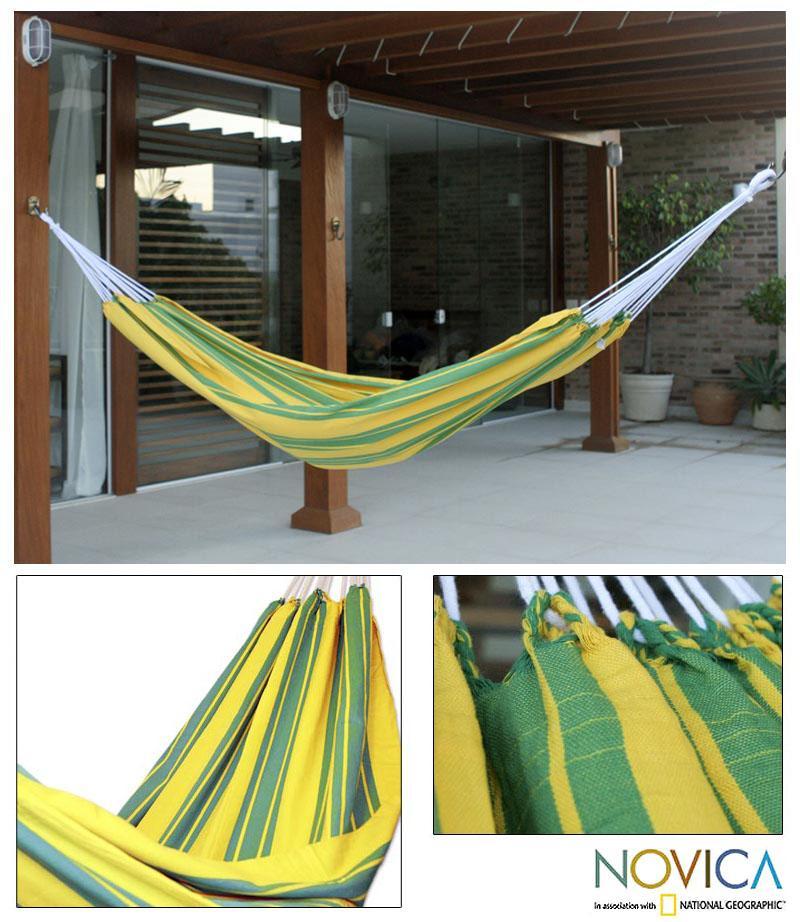 Handmade Cotton 'Brazilian Pride' Hammock (Brazil)