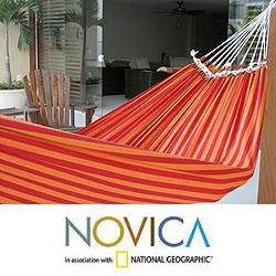 Handmade Cotton 'Amazon Sunrise' Hammock (Brazil)
