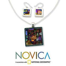 Sterling Silver 'Seasonal Abstract' Art Glass Jewelry Set (Mexico)