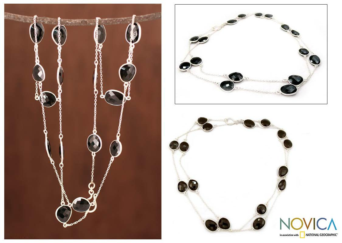 Handmade Sterling Silver 'Duduma Majesty' Onyx Long Chain Necklace (India)