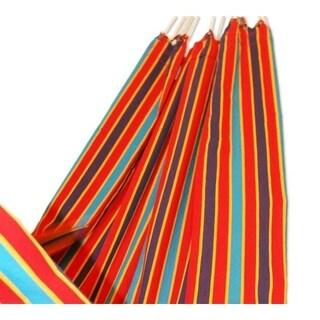 Carnival Rainbow Outdoor Garden and Patio 100% Cotton Eco Friendly Durable Bright Mulitcolor Striped Single Hammock (Brazil)