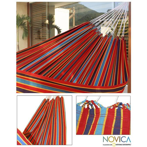 Carnival Rainbow Outdoor Garden and Patio 100% Cotton Eco Friendly Durable Bright Mulitcolor Striped Single Hammock (Brazil)