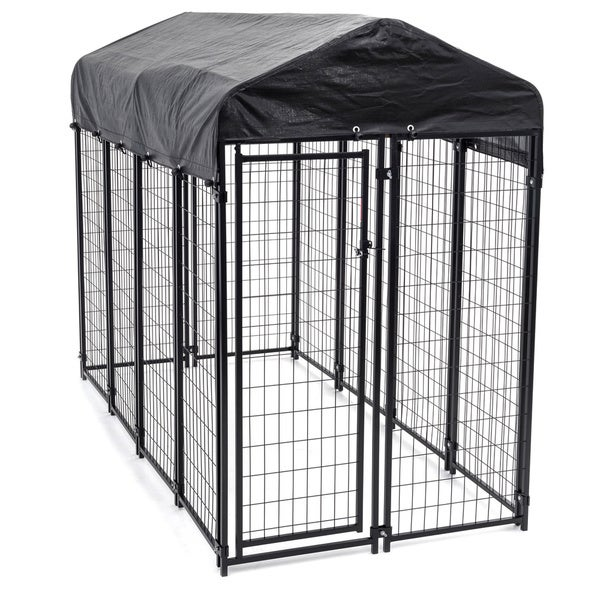 Lucky Dog Black Uptown Welded Wire Dog Kennel Free