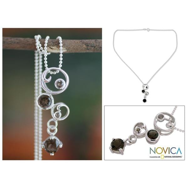 Handmade Sterling Silver Smoky Quartz Pendant Necklace 'In Circles' (India)
