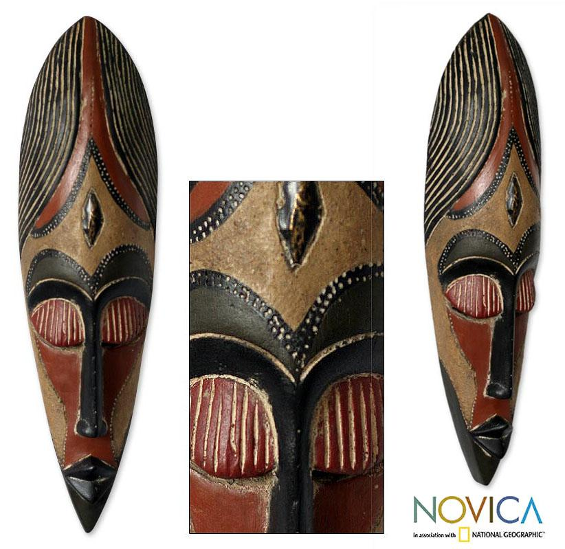 Handcrafted Sese Wood 'Brave Fighter' African Mask (Ghana)