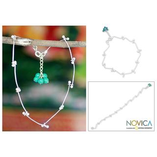 Handmade Sterling Silver 'Be With Me' Magnesite Anklet (India)