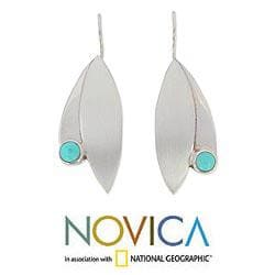 Sterling Silver 'Taxco Flora' Turquoise Earrings (Mexico) - Thumbnail 1