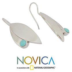 Sterling Silver 'Taxco Flora' Turquoise Earrings (Mexico) - Thumbnail 2