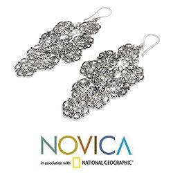 Handcrafted Sterling Silver 'Promises' Flower Earrings (Indonesia)