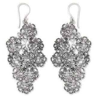 Handmade Sterling Silver 'Promises' Flower Earrings (Indonesia)
