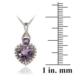 Glitzy Rocks Silver Amethyst and Diamond Accent Heart Necklace - Thumbnail 2
