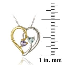 Glitzy Rocks Two-tone Silver Amethyst and Topaz Heart Necklace - Thumbnail 2