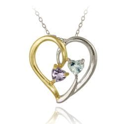 Glitzy Rocks Two-tone Silver Amethyst and Topaz Heart Necklace