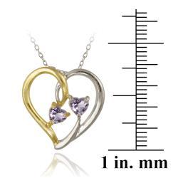 Glitzy Rocks Two-tone Silver Amethyst Heart Necklace - Thumbnail 2