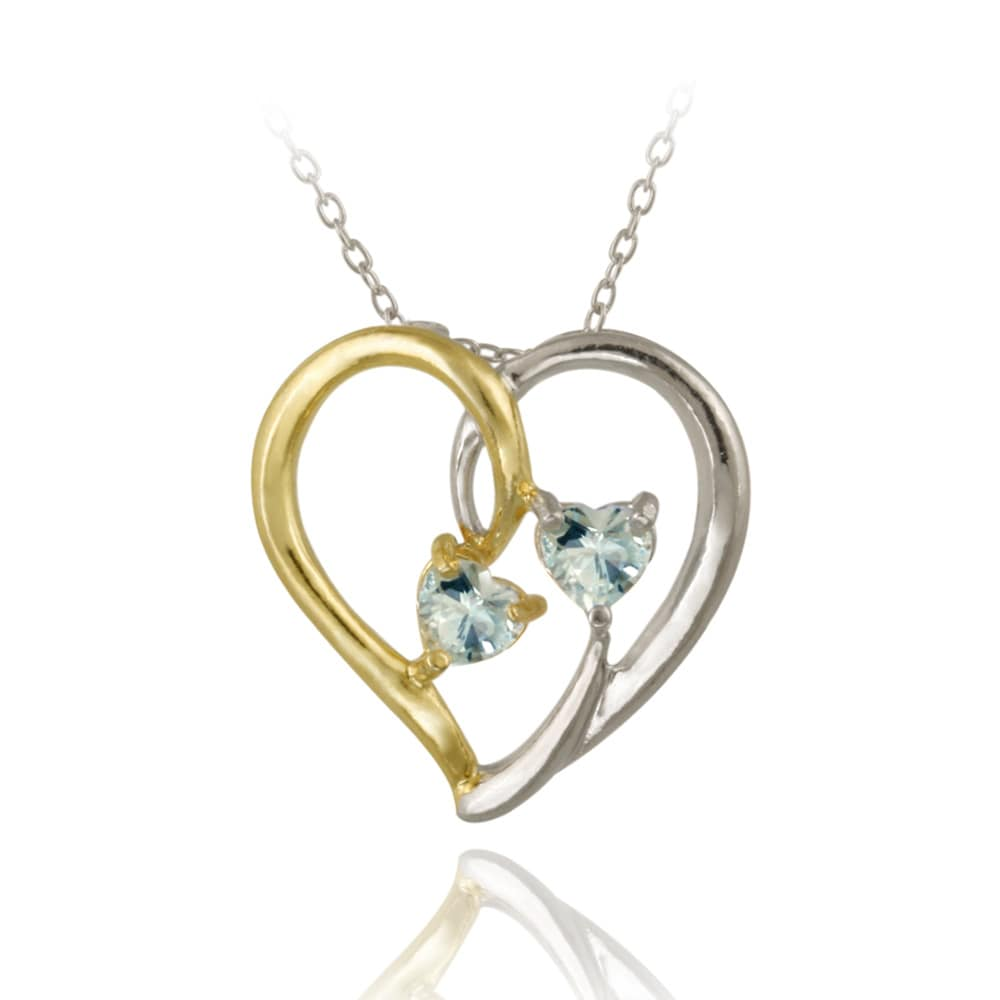 Glitzy Rocks Two-tone Sterling Silver and Blue Topaz Heart Necklace