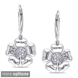 Miadora Sterling Silver 1/10ct TDW Diamond Floral Earrings