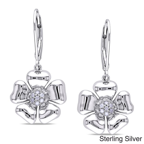Miadora Sterling Silver 1/10ct TDW Diamond Floral Earrings (G-H, I3)