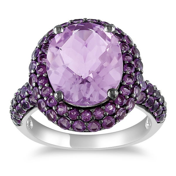 Miadora Sterling Silver Rose de France and Amethyst Ring
