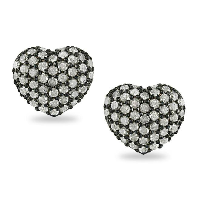 Miadora Sterling Silver 1ct TDW White Diamond Heart Earrings