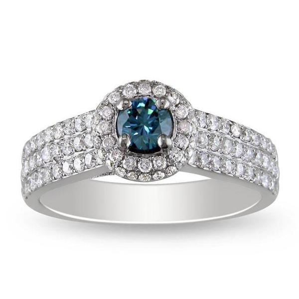 Miadora Signature Collection 14k White Gold 1ct TDW Blue and White Diamond Ring (G-H, I1)