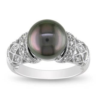 Miadora 14k White Gold Tahitian Black Pearl and 1/10ct TDW Diamond Ring (G-H, I2)(9.9.5 mm)