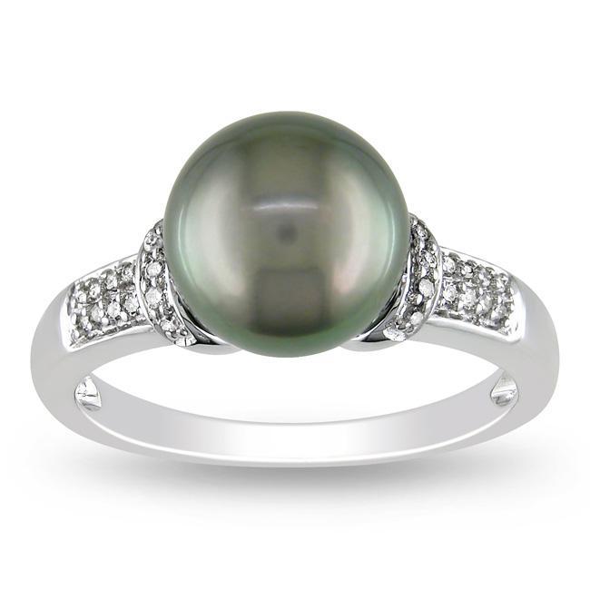Miadora 14k White Gold Tahitian Black Pearl and 1/10ct TDW Diamond Ring (G-H, I2)(8.5-9 mm)