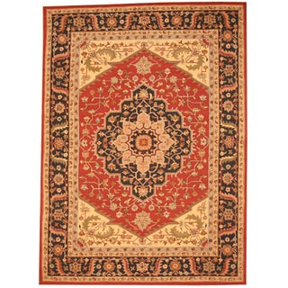 Herat Oriental Asian Hand-tufted Rust/ Navy Heriz Wool Rug (8' x 11')