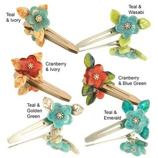 Handmade Glass Beads Flower Hair Clips (Set of 2) (United States)