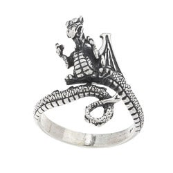 Silvermoon Sterling Silver Adjustable Dragon Ring (Option: Large)