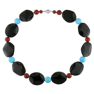 Miadora Onyx Carnelian and Turquoise Bead Box-Clasp Fashion Necklace