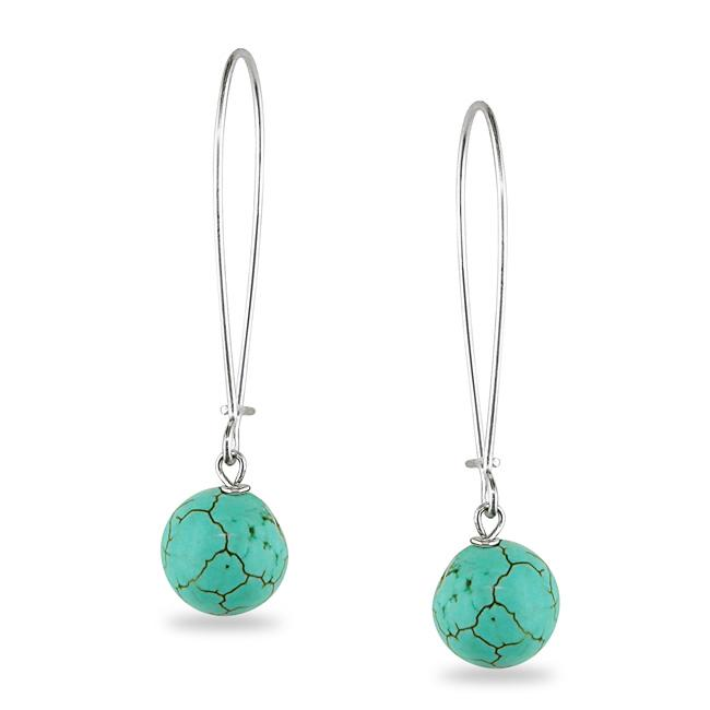 Miadora Sterling Silver Round Turquoise Dangle Earrings