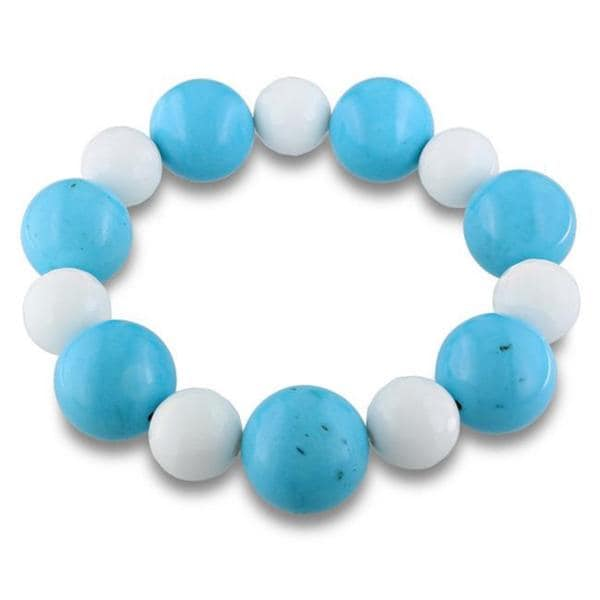 Miadora White Jasper and Glass Bead Stretch Bracelet