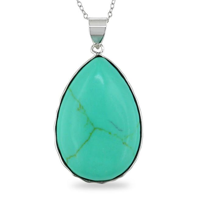 Miadora Sterling Silver Pear-cut Turquoise Necklace - Thumbnail 0