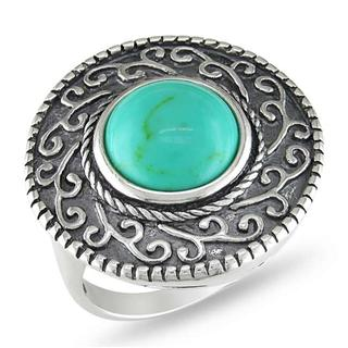 Miadora Sterling Silver Turquoise Scroll Ring