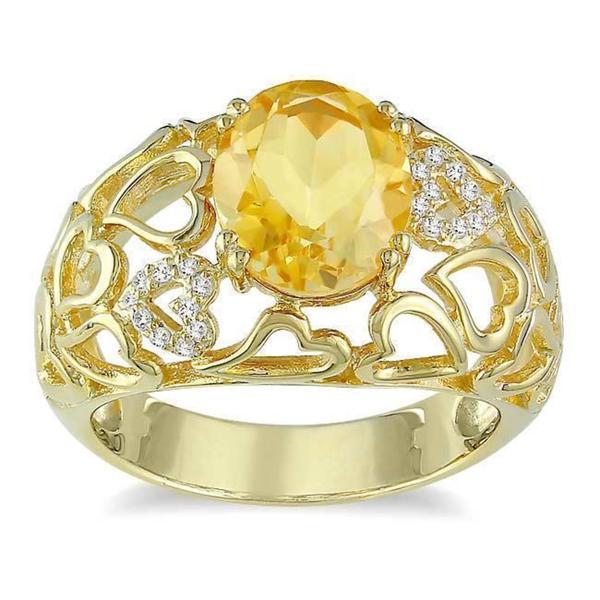 Miadora Yellow Silver Citrine and Diamond Accent Ring
