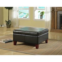HomePop Luxury Large Black Faux Leather Family Room Storage Ottoman Table