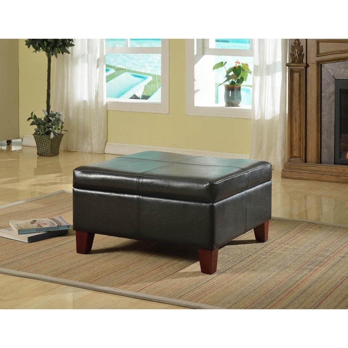 finest selection dc582 4c4c1 Copper Grove Silene Luxury Large Black Faux Leather Storage Ottoman Table