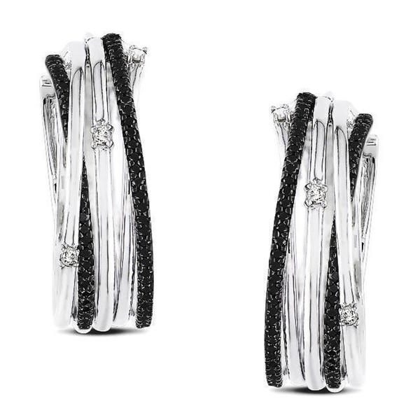 Miadora Sterling Silver 3/5ct TDW Black and White Diamond Earrings