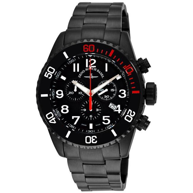 Zeno Men's 6492BK-A1M 'Divers' Black PVD Quartz Chronograph Watch